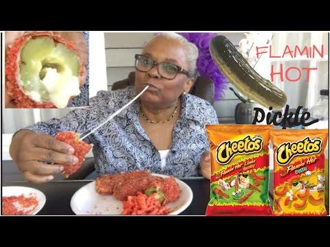 FLAMIN HOT CHEETOS  DEEP FRIED PICKLES • HOW TO MAKE CHEESY PICKLES • MUKBANG