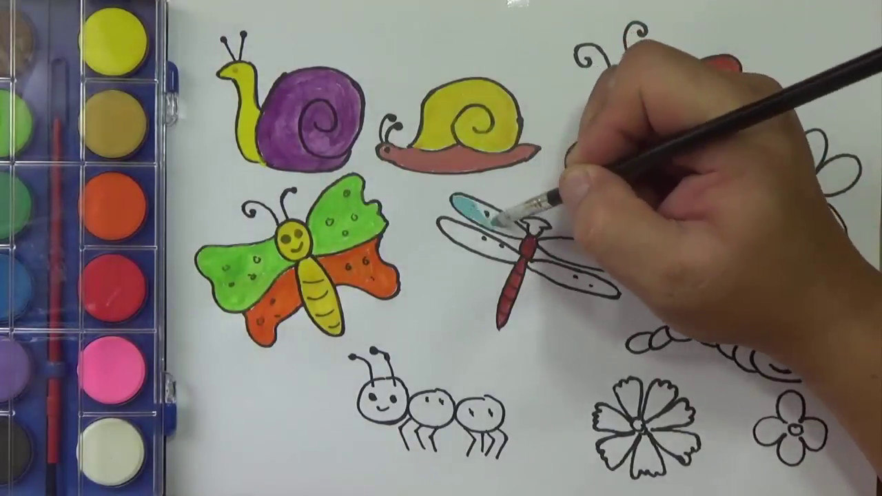Bee and butterfly coloring pages - How To Draw For Kids Insect Coloring Pages Painting And Drawing Butterfly Bee Ants Worm Snail
