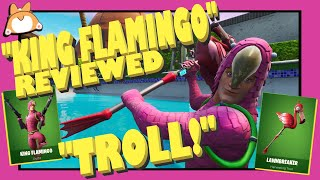 "Complete Honest Review: Fortnite ""KING FLAMINGO"" Skin + ""LAWNBREAKER"" Pickaxe /New Itemshop Summer"