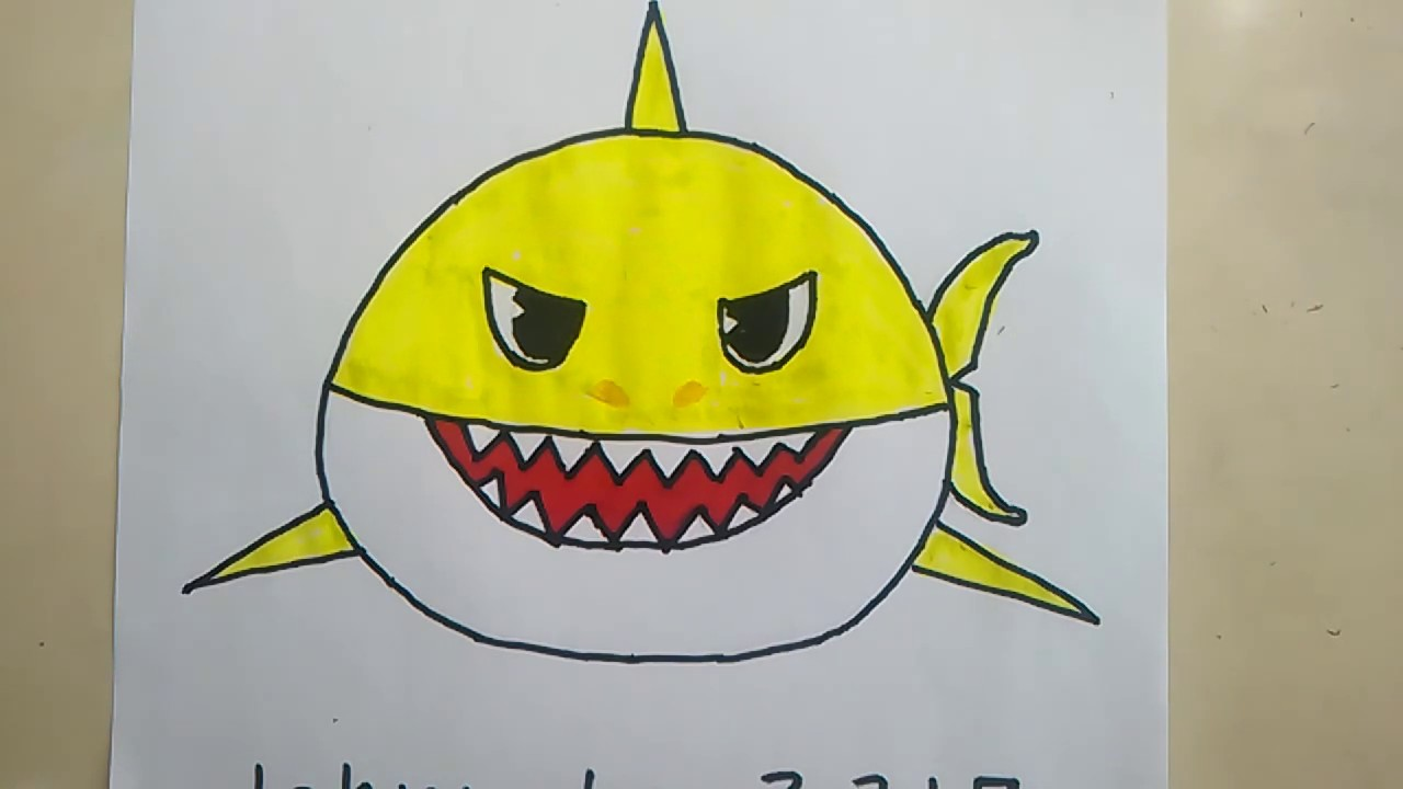 How To Draw Baby Shark Pinkfong Easy Glitter Sketch Doodle