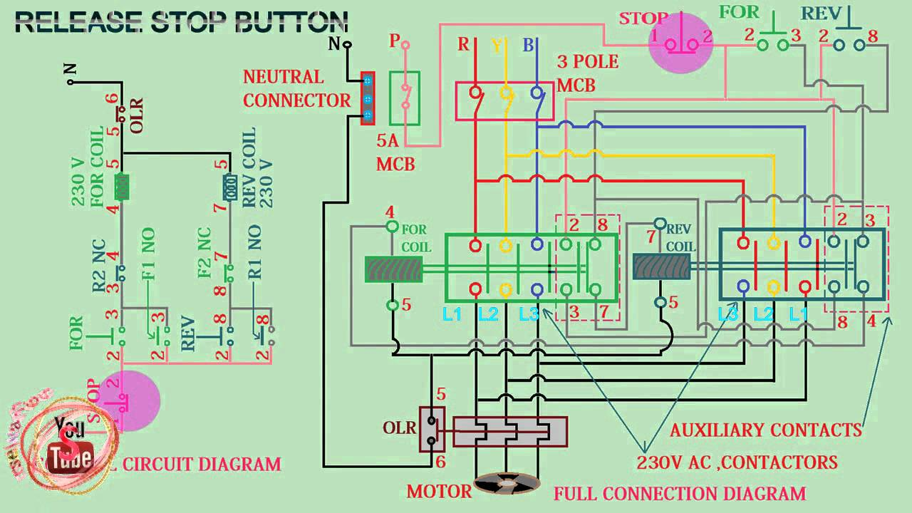 forward reverse starter connection diagram animation, youtube wye delta motor wiring diagram forward reverse starter wiring diagram #1