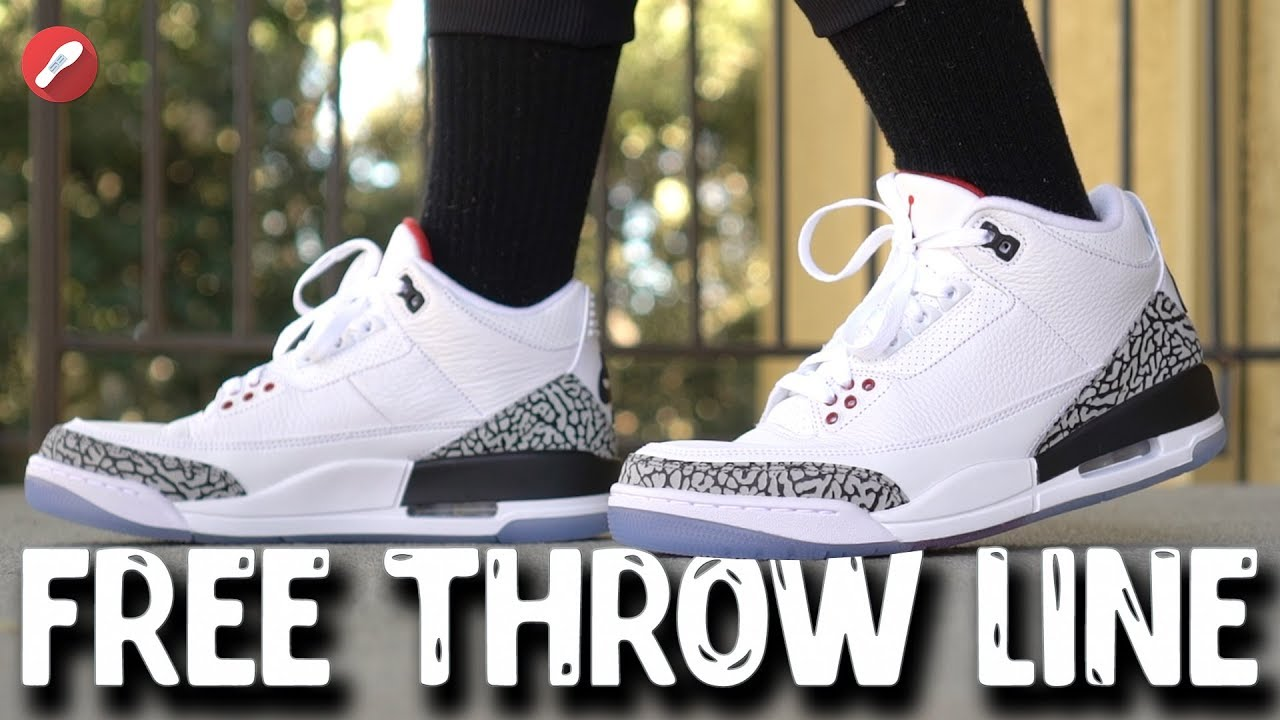 d931ccfcc95b79 Jordan 3 Free Throw Line White Cement Review! - YouTube