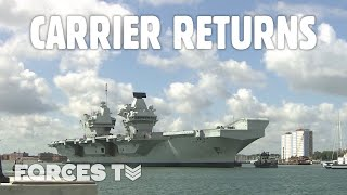 Hms Queen Elizabeth Returns To Portsmouth As 'fully Trained' Aircraft Carrier | Forces Tv