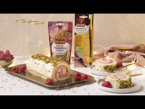 recette-tendance- -bûche-de-noël-au-mascarpone,-vanille-et-framboises-vahiné