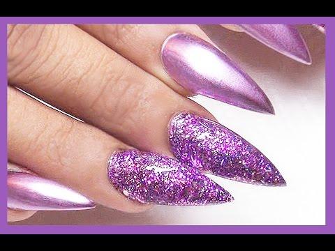 ☆ Purple Glitter Acrylic Nails ☆