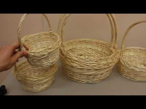 Набор плетеных корзин из 5шт  Круг натуральный 8801 Артикул 12928
