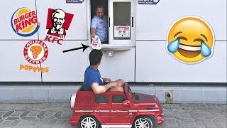 مقلب - طلب من المطاعم بسيارة ألعاب صغيرة !! لا يفوتكم !!