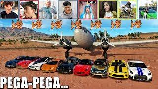 PEGA PEGA NO AEROPORTO COM OS CARROS DOS YOUTUBERS - FORZA HORIZON 3 - GAMEPLAY