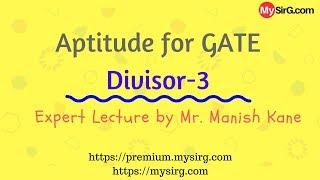 Aptitude for GATE   Divisors 3   in Hindi   MySirG.com