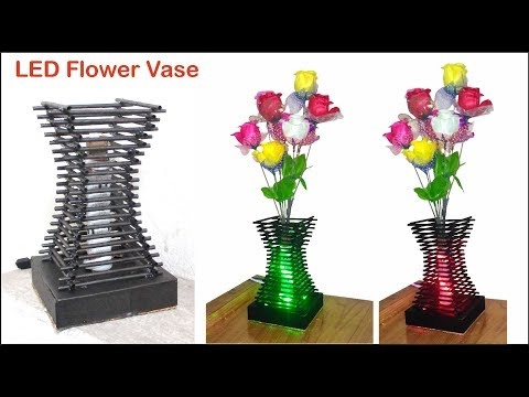 DIY Easy Paper Flower Vase with RGB Light | Simple Paper Craft For Room Decoration