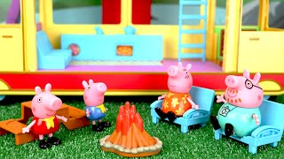 Peppa Pig Camping Trip! Peppa Pig & Her Family Take a Camping Trip in their NEW Camper Van Toys