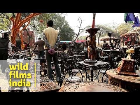 Furniture made of teak wood for sale at surajkund mela by for Skilled craft worker makes furniture art etc