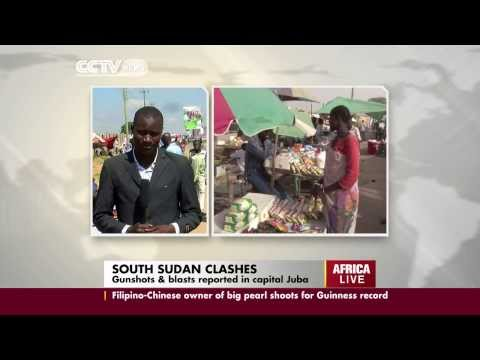 South Sudan clashes as gunfire and blast reported in the capital Juba.