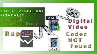BOZUK Avi MP4 Video Dosyası Onarma 🎥  Dosya Bütünlüğü 🎬 Kurtarma