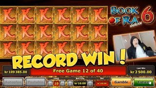 RECORD WIN?! Book of ra 6 BIG WIN - HUGE WIN - Freespins - Retriggers