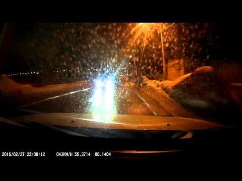 Видеорегистратор AdvoCam FD Black GPS.  Съёмка ночью.