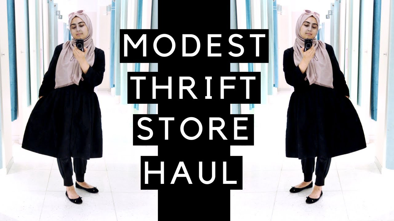 1264b28eab1 MODEST FASHION THRIFT STORE TRY ON HAUL - YouTube