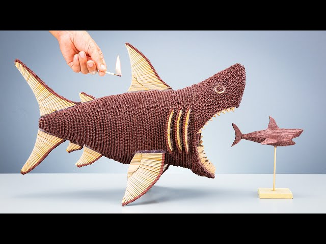 Megalodon Built with Matches VS Shark! Amazing Chain Reaction