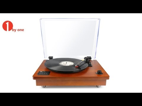 1byone Classic Wood Turntable Giveaway!  It Records to MP3!