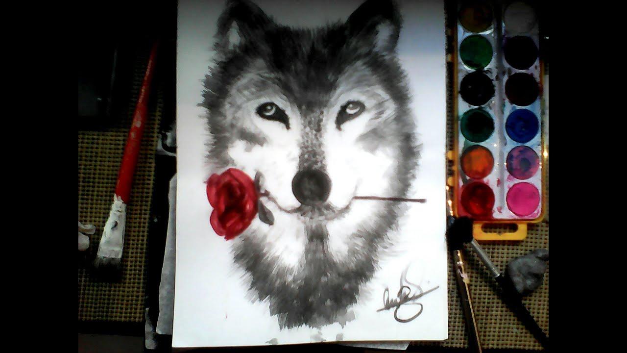 Dibujando un lobo con acuarelas dibujos f ciles - Pintar en lienzo para principiantes ...