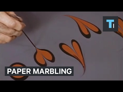This 1970s technique used to marble paper is mesmerizing