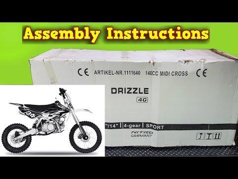 140cc Pit Bike, Dirt Bike - Unboxing - Full Assembly Instruction - Drizzle 140ccm Nitro Motors
