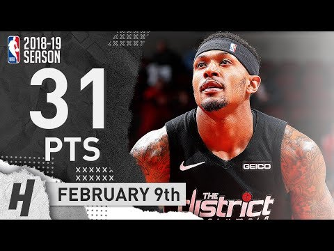 Bradley Beal Full Highlights Wizards vs Bulls 2019.02.09 - 31 Points, NASTY!