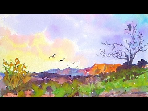 Southwestern landscape easy watercolor painting tutorial for Americas best paint
