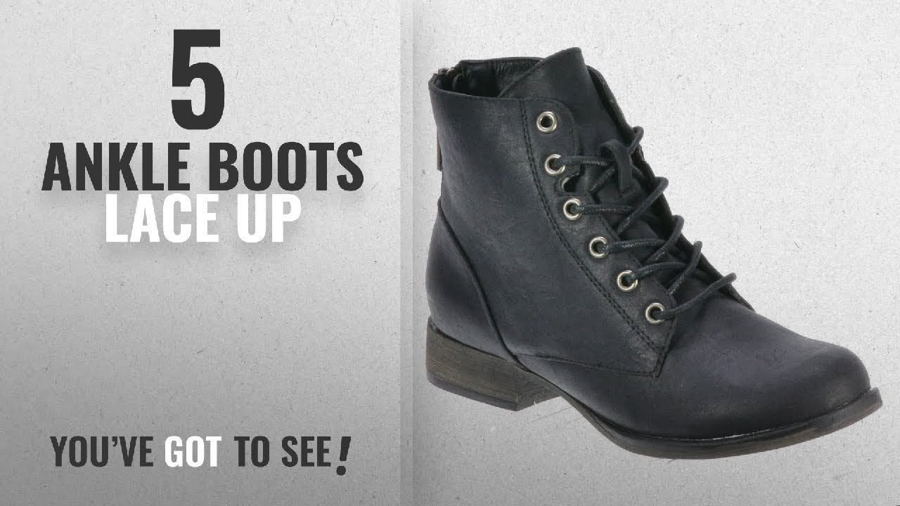 f4e0ce42cb2f Top 5 Ankle Boots Lace Up  2018   Breckelle s Women s Georgia-43 Faux  Leather Ankle High Lace Up