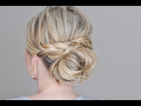 Messy bun with a braided wrap youtube Chignon mariee bas