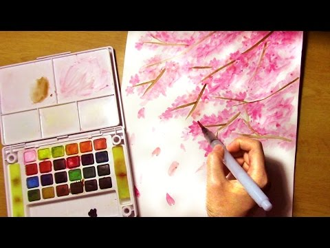 How to Paint Cherry Blossom Tree EASY for Beginners PLEASE TURN ON CC