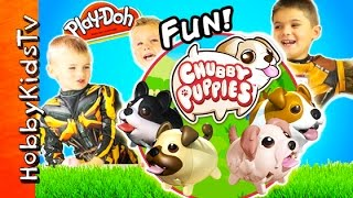 Chubby Puppies! Play-Doh Surprise Bone + Race, Spider Slime - Cute Toy Review HobbyKidsTV
