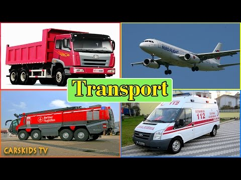 Transport Sounds - learn AIR WATER STREET SPACE Transport - Fire truck Police Car Ambulance