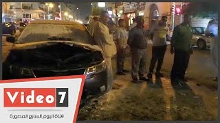 إخماد حريق نشب فى سيارة ملاكى بمحيط دار القضاء العالى بوسط البلد