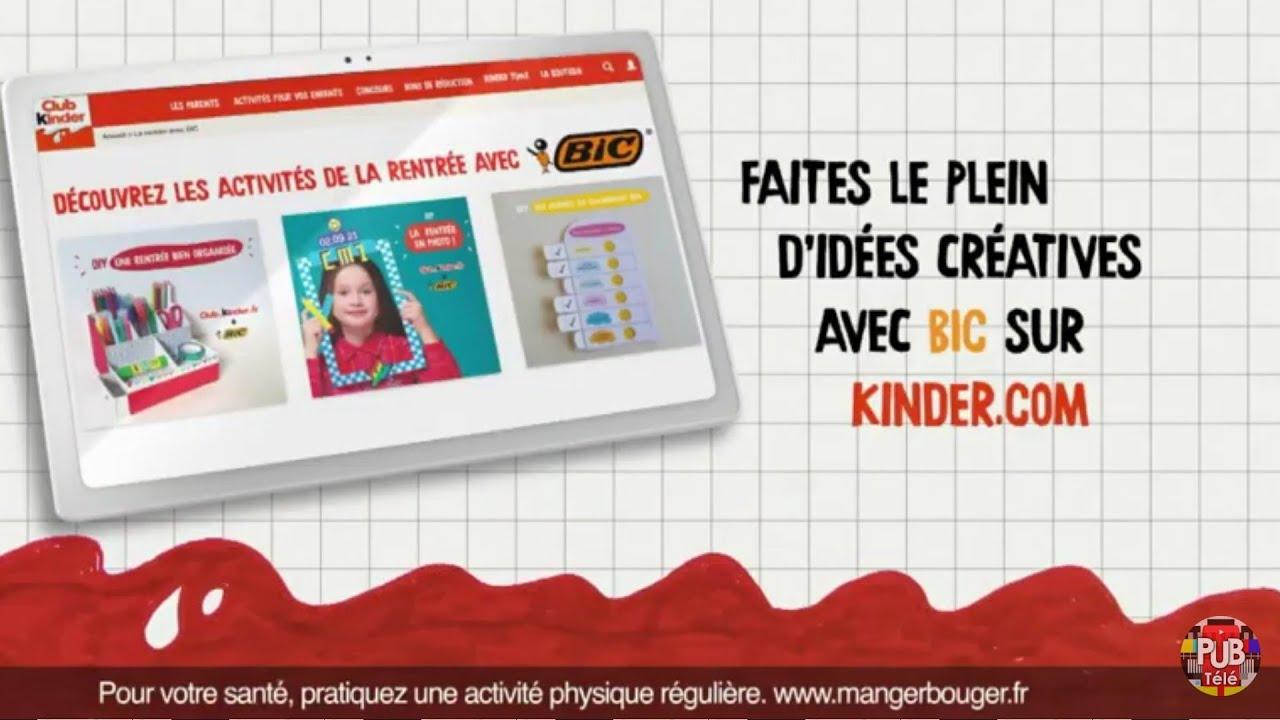 """Musique pub Kinder x Bic """"faites le plein d'idées créatives avec Bic sur kinder.com""""  juillet 2021"""