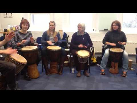 Djembe drumming with Music Therapists, Bristol 3rd December 2016