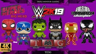 WWE 2K19 [4K] big head super heroes at elimination chamber | Triple monitor gameplay 5760x1080