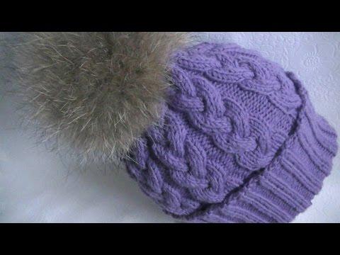 Вязание шапки узором коса с 9 петель