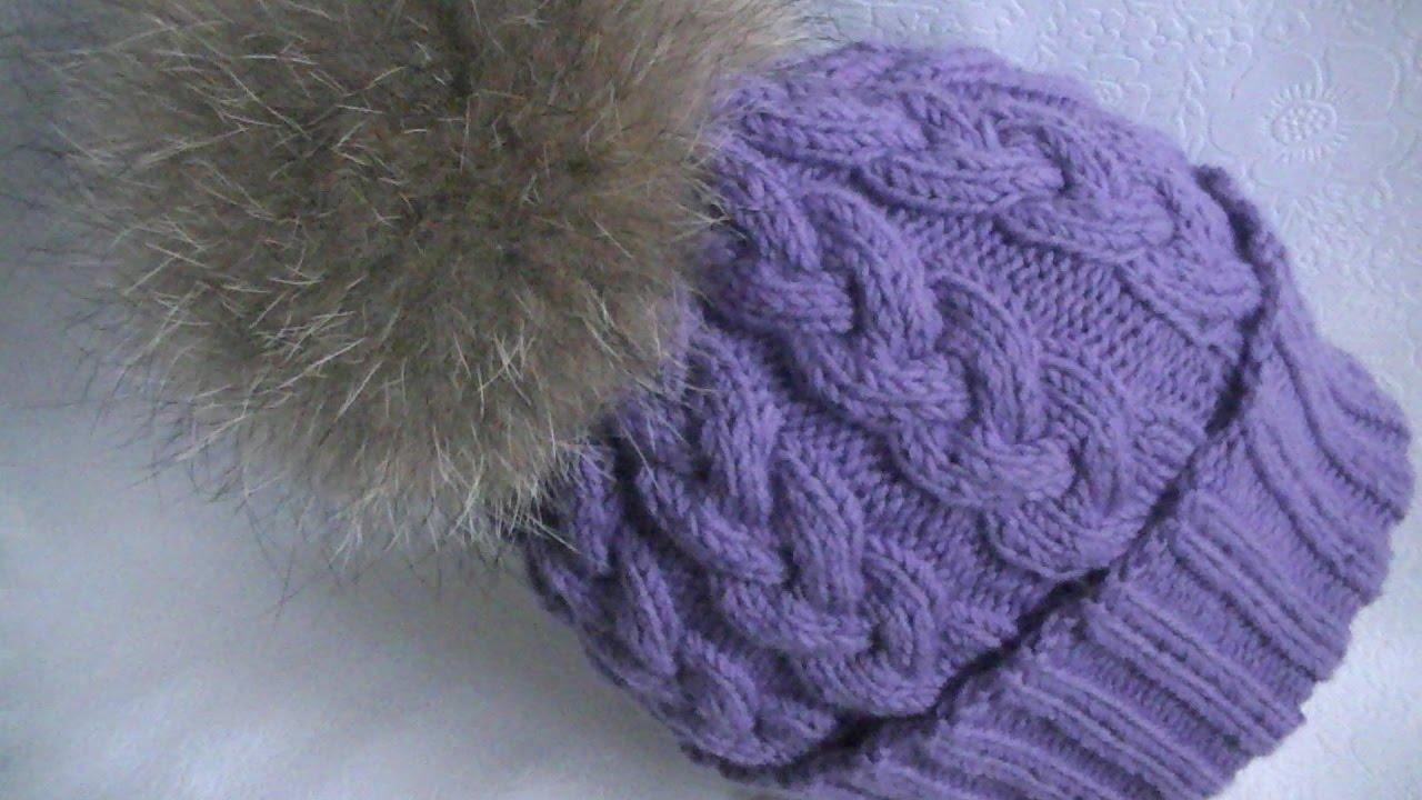 вязание шапки узором коса с 9 петель Youtube