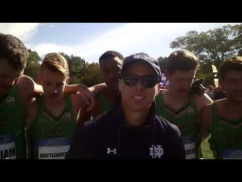 Coach Sean Carlson & the victorious Notre Dame men at 2018 ACC XC champs