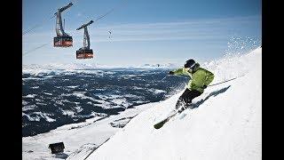 Спуск с горы на лыжах в Лейк Луиз, Альберта, Канада 3D 360° 4K 8K TB видео для VR очков