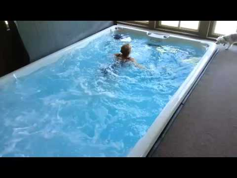 Swimming against The Wide River Stream Current... Awesome! - YouTube