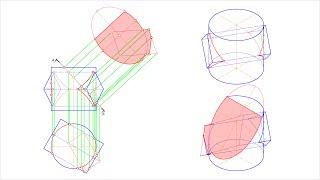 Линия пересечения поверхности призмы и цилиндра. Натуральный вид сечения