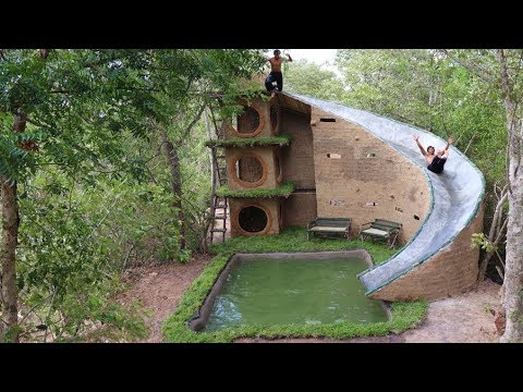 How To Build  Amazing Big Water Slide House  Around Underground Swimming Pool By Ancient Skill