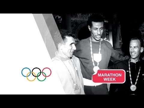 Abebe Bikila Wins Marathon Gold Running Barefoot - Rome 1960 Olympics