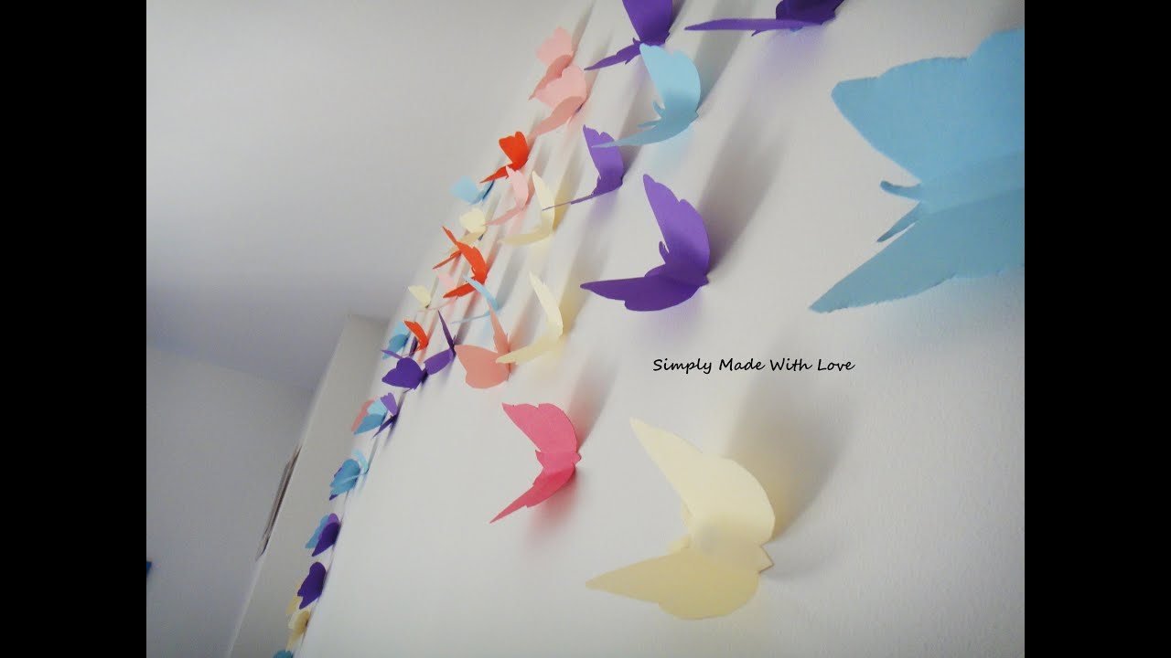 Room decoration with paper cuttings - Diy How To Make Beautiful Cheap And Easy 3d Wall Decoration With Butterflies Youtube