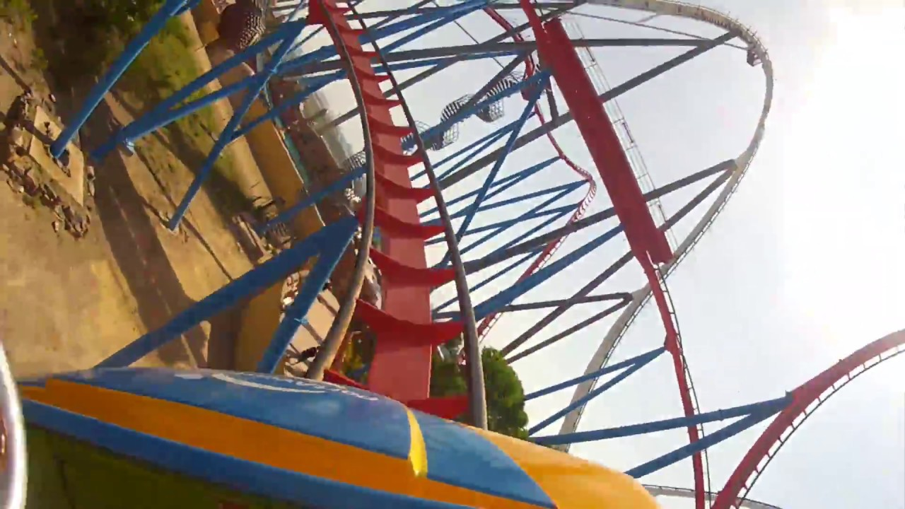 Dragon Khan Roller Coaster POV Front Seat View from ...