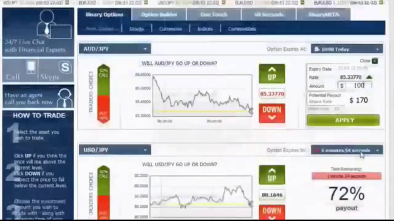 trading binary options with the best top binary options brokers worldwide - digital options, fixed returns, all-or-nothing options, ladder and range options, turbo 30 sec, 60 sec, sec options trading, currency and stock pairs, forex, option builder and one touch options - happy trading folks.
