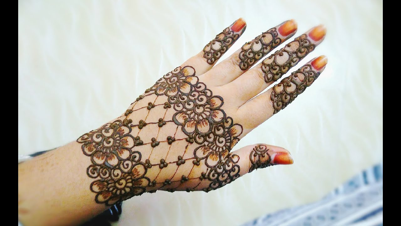 Flower Mehndi Designs For Back Hands : Easy stylish floral and lines mehndi design henna back