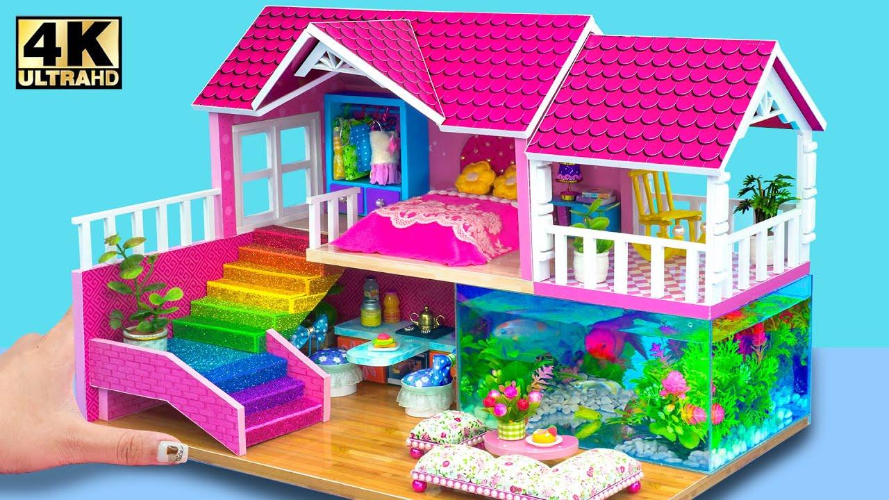 How To Make Awesome Two storey Billionaire Villa With Underground Aquarium   DIY Miniature House #30